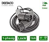 DELTACO Elektroauto EV Ladekabel, E Auto Mennekes Ladekabel 5m, Typ 2 auf Typ 2 Stecker (16A / 3,6Kw)