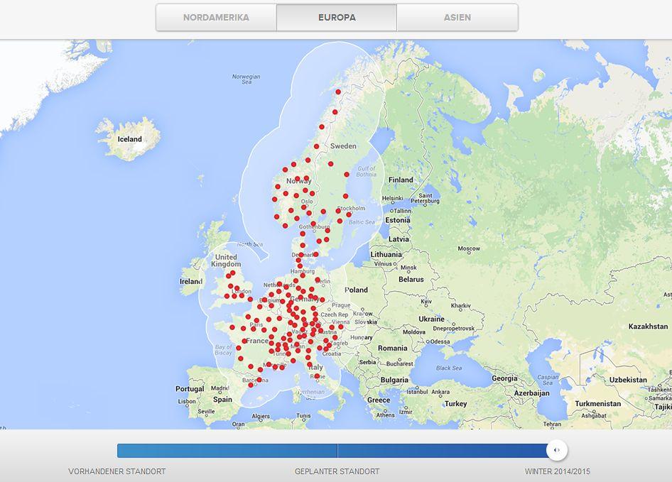 Tesla: Karte zeigt Ausbau der Supercharger in Europa